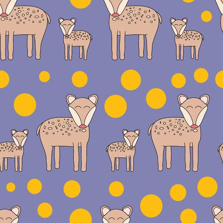 Vector Hand Drawn deer and polkadots. Perfect for scrapbooking, wallpaper and fabric.