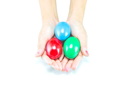 color eggs in hand  photo