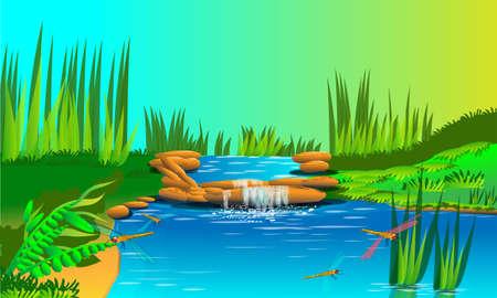oasis: waterfall nature  Illustration