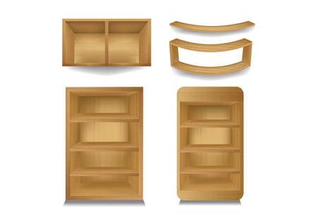 exhibit: 3d isolated Empty shelf for exhibit 4. Vector illustration.