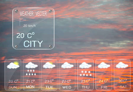 widget: Weather widget template and sky background