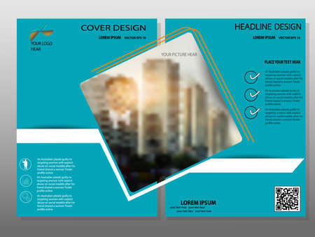 headline: Blue annual report brochure flyer design template vector, Leaflet cover presentation abstract flat background,Headline background, layout in A4 size