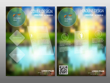 headline: business brochure flyer design layout template in A4 size, with blur background,Headline background, vector eps10.
