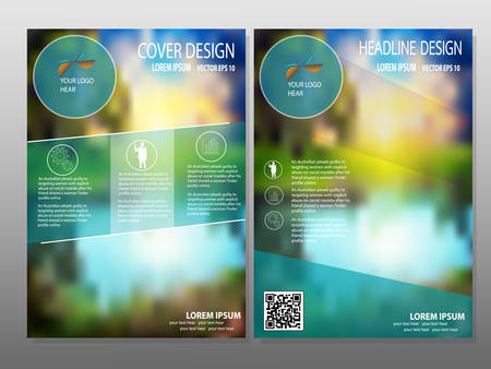 headline: business brochure flyer design layout template in A4 size, with blur background,Headline background, vector
