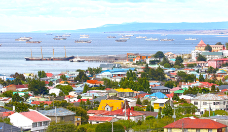 Scenic view of Punta Arenas, Chile. Magellan Strait and Ship Graveyard in Background. Patagonia,  South America