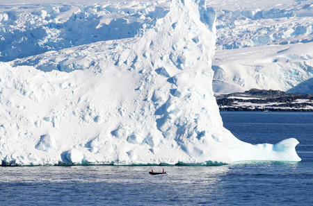 Antarctica on a Sunny day- Antarctic Peninsula - Huge Icebergs and Zodiac Rubber Boat