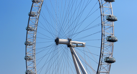 LONDON, United Kingdom - Sep 1, 2017 : The London Eye near the River Thames in London. The Eye is a giant Ferris wheel on the South Bank of the River Thames