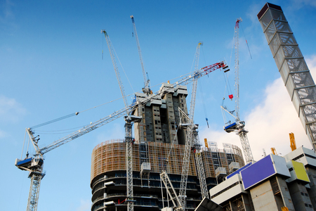 Concrete Highrise Construction site, with Tower Crane. Australia Stock Photo