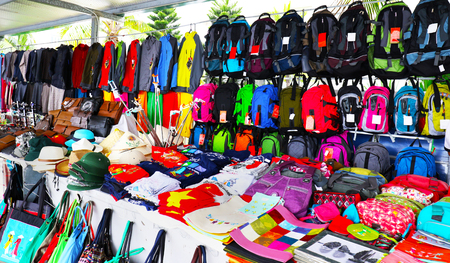 Colourful Street Market, selling bargain low price items. Halong Bay, Vietnam. Many are counterfeits.