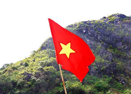 Vietnamese Flag at Halong Bay, Vietnam, Asia  Tropical Green Mountain Background
