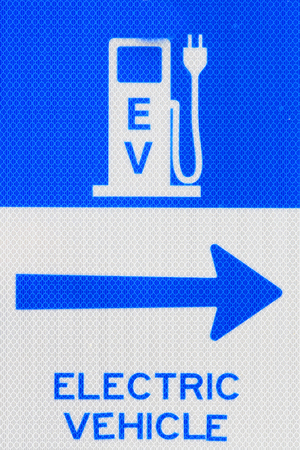 EV Electric Vehicle Charging Station Sign, Victoria, Canada Reklamní fotografie - 97112265