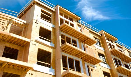 Apartment Condominium Complex, Wood Frame Construction, Victoria, Canada Stock Photo
