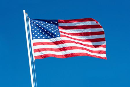 US Flag on a Windy Day, blue sky
