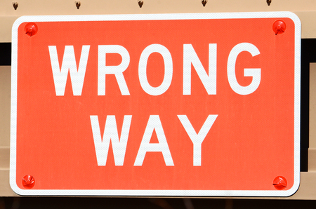Wrong Way Sign, directional signage