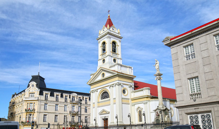 Catedral Sagrado Corazon (Cathedral of the Sacred heart) in the Plaza Munoz Gamero, Punta Arenas, Chile 스톡 콘텐츠