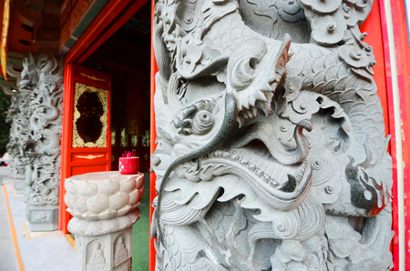 Exterior Imperial oriental dragon decoration at the Po Lin monastery Temple, Lantau Island, Hong Kong, China