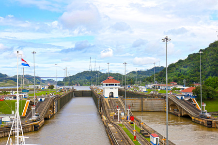 Locks at Panama Canal, showing difference of water level. Panama