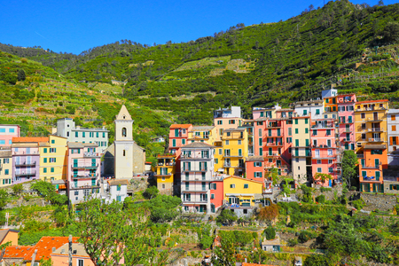 Cinque Terre, Italy. Five Fishing Villages. Colourful Beautiful sunny Day. 版權商用圖片