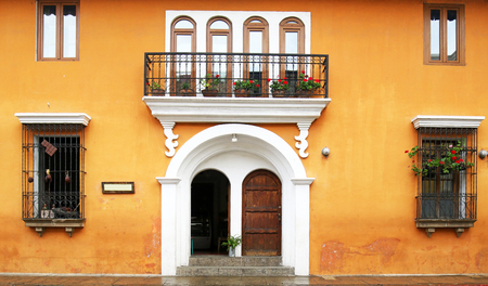 Antigua City, Guatemala. Colourful colonial architecture seen from the cobbled streets. Beautiful Streetscape.