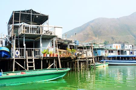 Tai O Fishing Village, Houses built on stilts.  Hong Kong. China 版權商用圖片