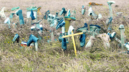 Boot Hill. A Curious Falkland Islands Roadside Shoe Shrine. One explanation is A satirical and sad remembrance of  the tens of thousands land mines left behind by the 1982 Falklands War. Editorial