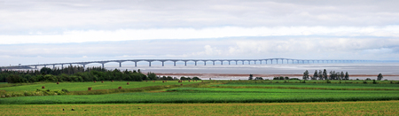 Panorama Photo of the Prince Edward Island Confederation Bridge, North side.  PEI, Canada. Cloudy Day 写真素材