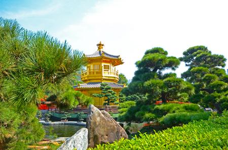 The Pavilion Golden Pagoda, Nan Lian Garden, a public park, Hong Kong