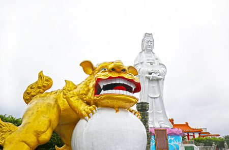 Bodhisattva and Guardian Lion, Da Fo Temple of Keelung City, landmark in Keelung, Taiwan Stock Photo