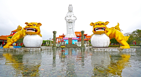 Bodhisattva and Guardian Lion, Da Fo Temple of Keelung City, landmark in Keelung, Taiwan 写真素材