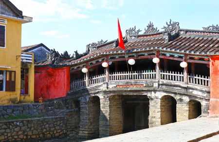 Hoian (Hoi An) Historic Japanese Covered Bridge. Built in the 18th Century with a Buddhist temple attached