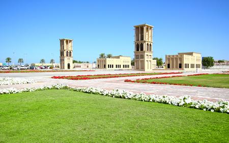 Dubai City Park. Ancraient arabic air cooling towers. Dubai, United Arab Emirates.UAE 新聞圖片