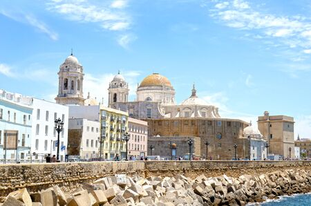 The Cathedral of the Holy Cross by the seaside. City of Cadiz, Andalusia, Spain