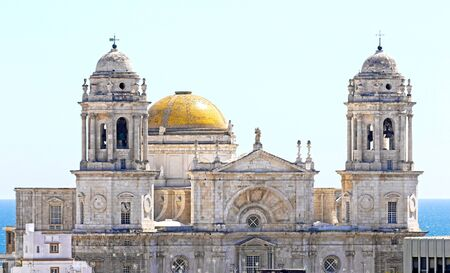 The Cathedral of the Holy Cross by the seaside. City of Cadiz, Andalusia, Spain 写真素材