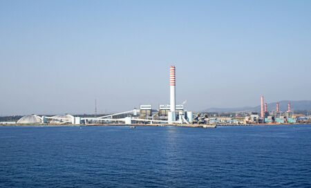 Torrevaldaliga Nord coal-fired power Generator Plant.  Near Civitavecchia. Rome province, Lazio, Italy.  View from the Ocean side.