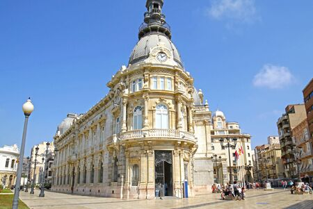 Cartagena, Murcia  Spain - June 14, 2019: Cartagena cityscape, Tourist visiting downtown.  Historical Consistorial Palace, now the City Hall of Cartagena. Redactioneel