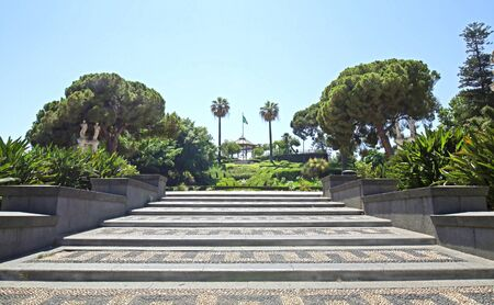 Decorated Steps leading up to Bellini Garden, a public park in Catania, Sicily, Italy