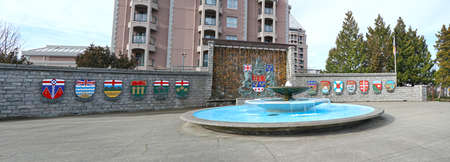 Victoria, B.C., Canada.  Panoramic View of the Confederation Fountain. The coats of arms of the 13 Provinces and Territories. Sajtókép