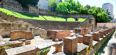 Trieste, Italy.  Panoramic View of Roman Theatre Ruins.