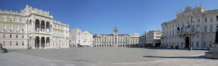 Panoramic photo of Piazza Unita di Italia (Unity of Italy Square) Large square in Trieste, Italy. A seaport city in northeast Italy. Unrecognizable people / tourists