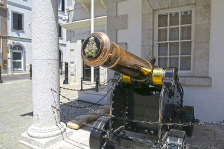 Decommissioned Cannon with a Coat of Arms Crest plug.  Gibraltar, British Overseas Territory