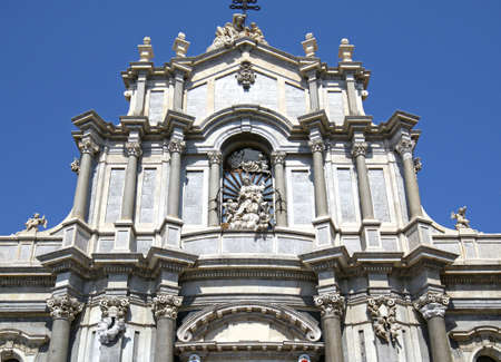 Facade of  Catania Cathedra at the Piazza Duomo Square in Catania, Sicily, Italy.