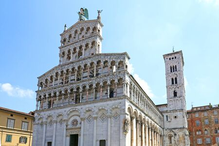 Medieval Cathedral San Michele in Lucca, Italy.