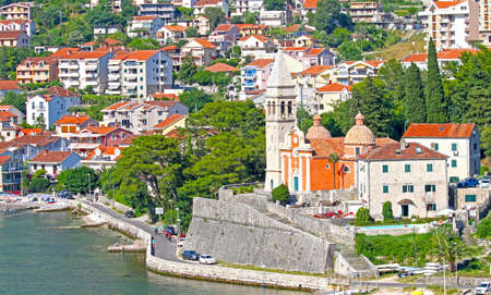 View of Church of St. Matthew in Dobrota, Bay of Kotor, Montenegro. Adriatic Sea