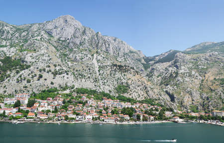 Majestic Mountain Above Dobrota, Bay of Kotor, Montenegro. Adriatic Sea
