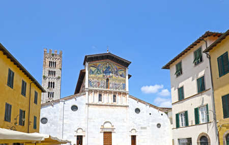 Church of San Pietro Somaldi and Campanile with bell tower. Lucca,  Italy Sajtókép