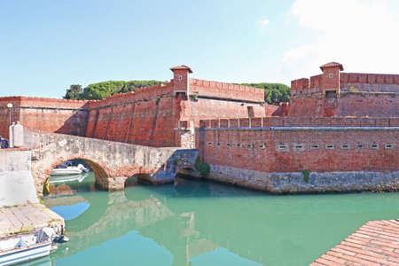 Livorno, Italy. Canal around the Fortezza Nuova