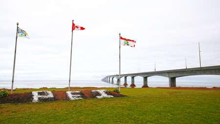 Marine Rail Historic Park. Prince Edward Island, Canada.  Confederation Bridge in the background Publikacyjne