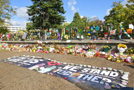 CHRISTCHURCH, NEW ZEALAND - April 12, 2019: a make shift memorial for the tragic mosque shooting. At a public park
