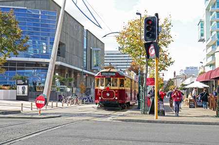 Christchurch, New Zealand -April 12, 2019 : Christchurch heritage tram runs on tramway tracks, it is one of the city's major tourist attractions in Christchurch, NZ Publikacyjne