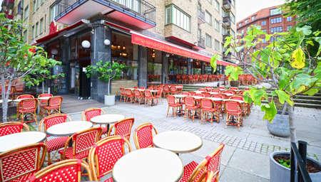 Traditional outdoor roadside cafe restaurant in Gothenburg, Sweden.  Colorful setting
